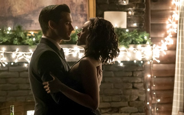 "The Vampire Diaries -- ""Somebody That I Used To Know"" -- Image Number: VD719b_0299.jpg -- Pictured (L-R): Michael Malarkey as Enzo and Kat Graham as Bonnie -- Photo: Annette Brown/The CW -- © 2016 The CW Network, LLC. All rights reserved."